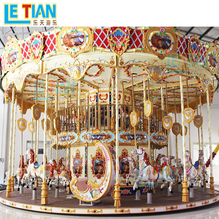 Outdoor amusement park ride double deck carousel LT-7030A